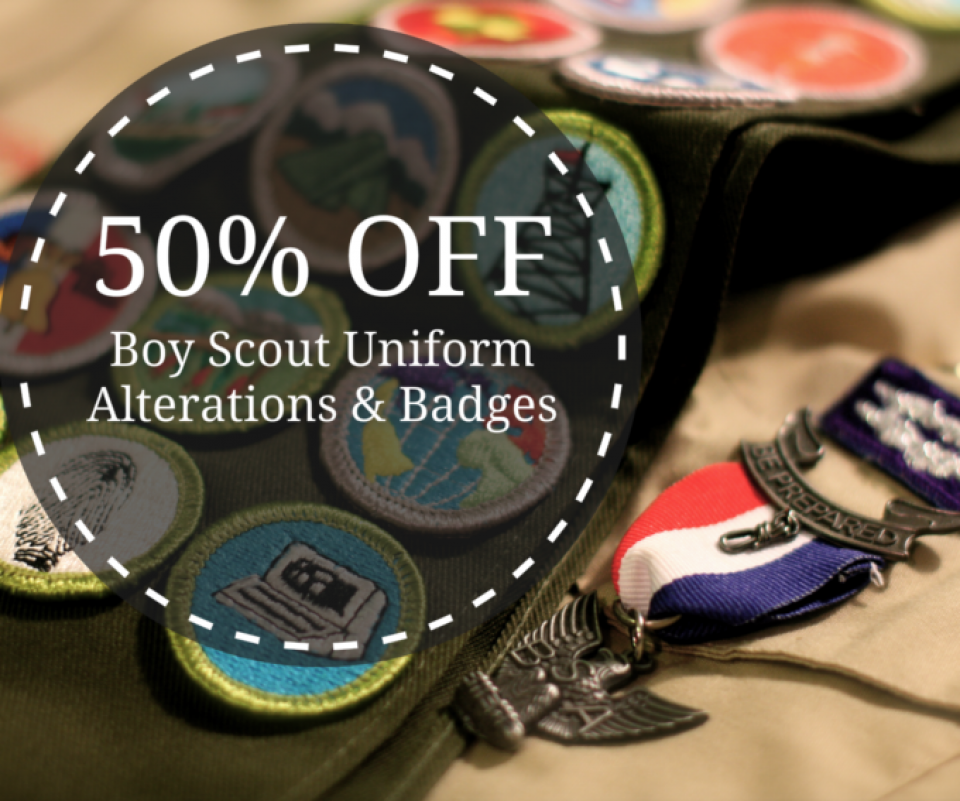 50% Off on Boy Scouts Uniform Alterations and Badges